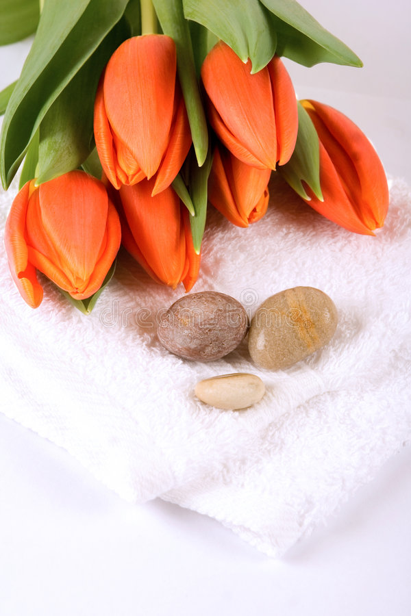 Tulips, pebbles and towel royalty free stock image