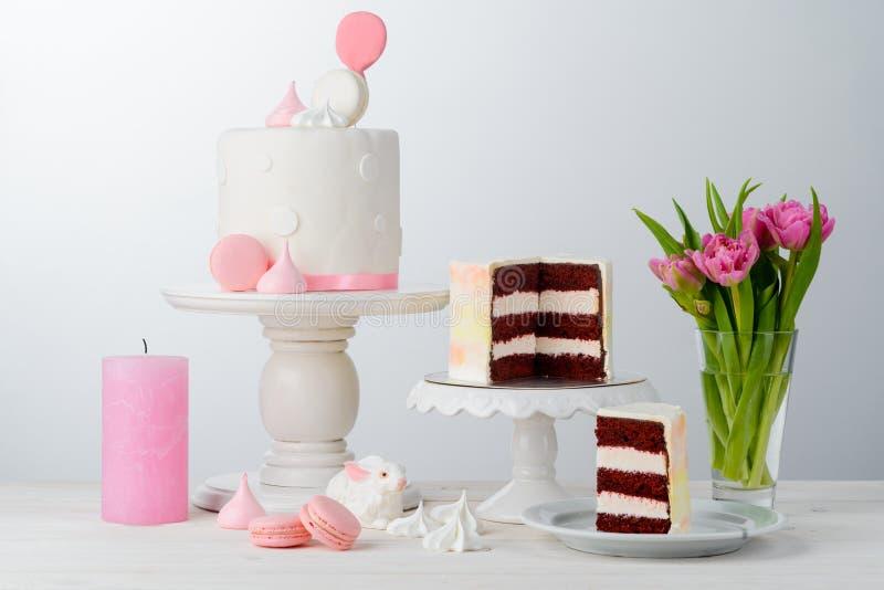 Tulips and Red Velvet cake stock photos