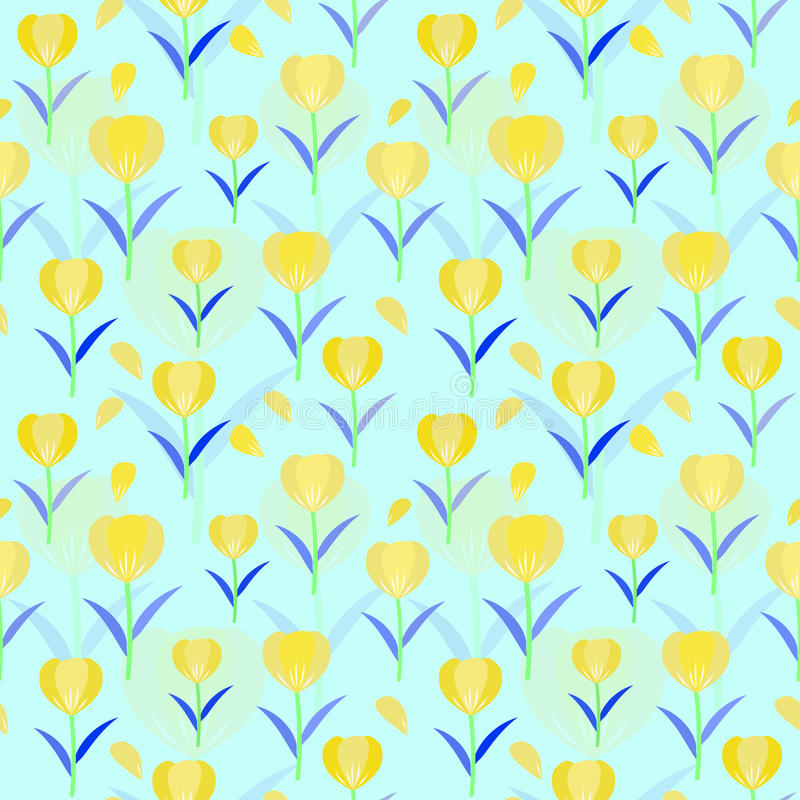 Tulips seamless pattern background; floral vector designed. stock image