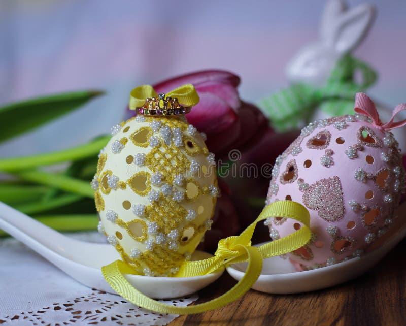Tulips spring eastereggs flowers princess crown tiara fairytale wonderland dream royalty free stock photo