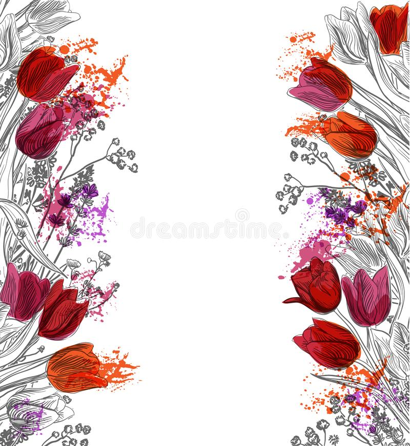 Tulips vector card simple splash colorful sketch stock illustration