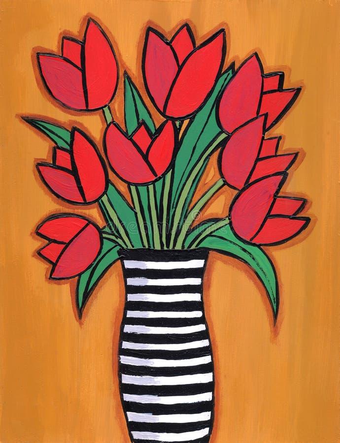Tulips vermelhos em vaso listrado ilustração royalty free