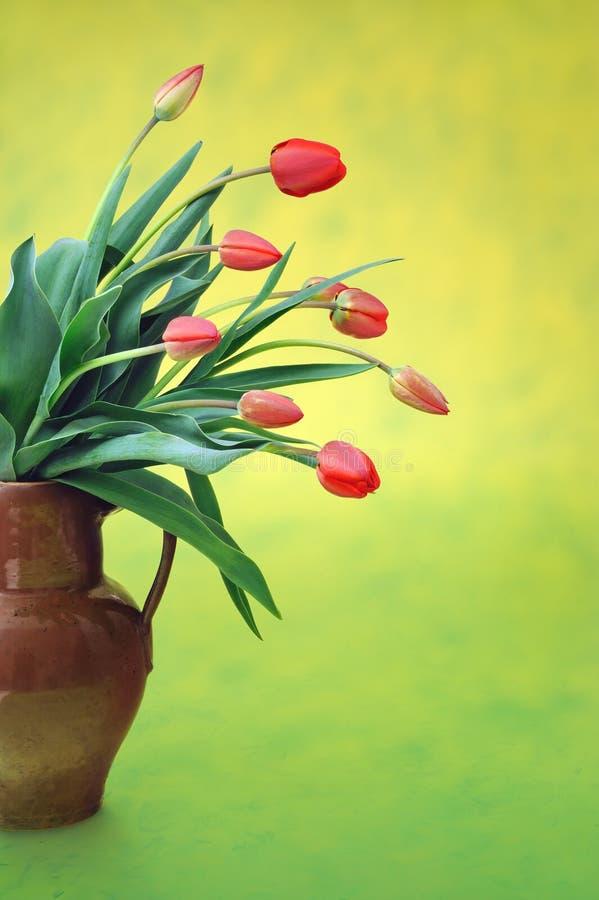 Tulips vermelhos no jarro velho foto de stock royalty free