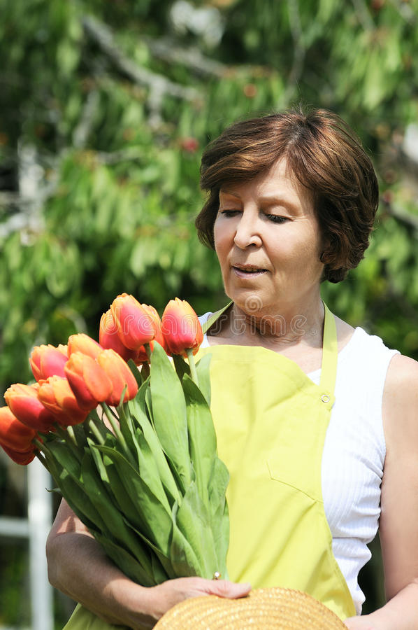 Tulips woman royalty free stock image