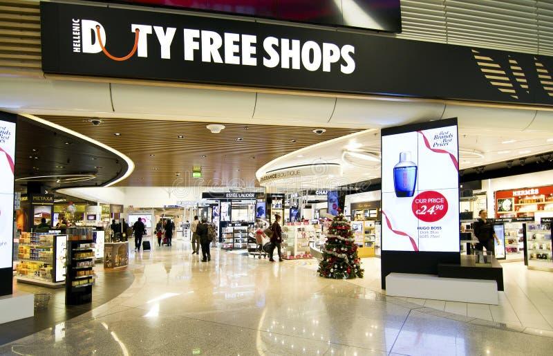 Tullfritt shoppar på den Eleftherios Venizelos flygplatsen Grekland arkivfoto