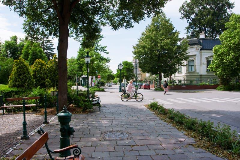 TULLN,奥地利- 5月31 :夫人在老镇的一条绿色街道骑自行车 免版税库存图片