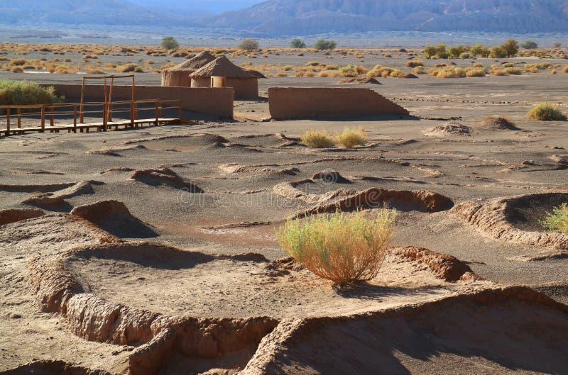 Tulor,古老村庄遗骸在圣佩德罗火山阿塔卡马附近的在智利 免版税库存图片