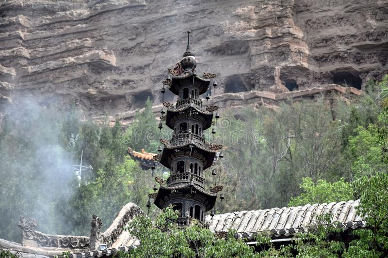 Tulou Temple of Beishan Mountain in Xining in Tibet Autonomous Region of China. stock image