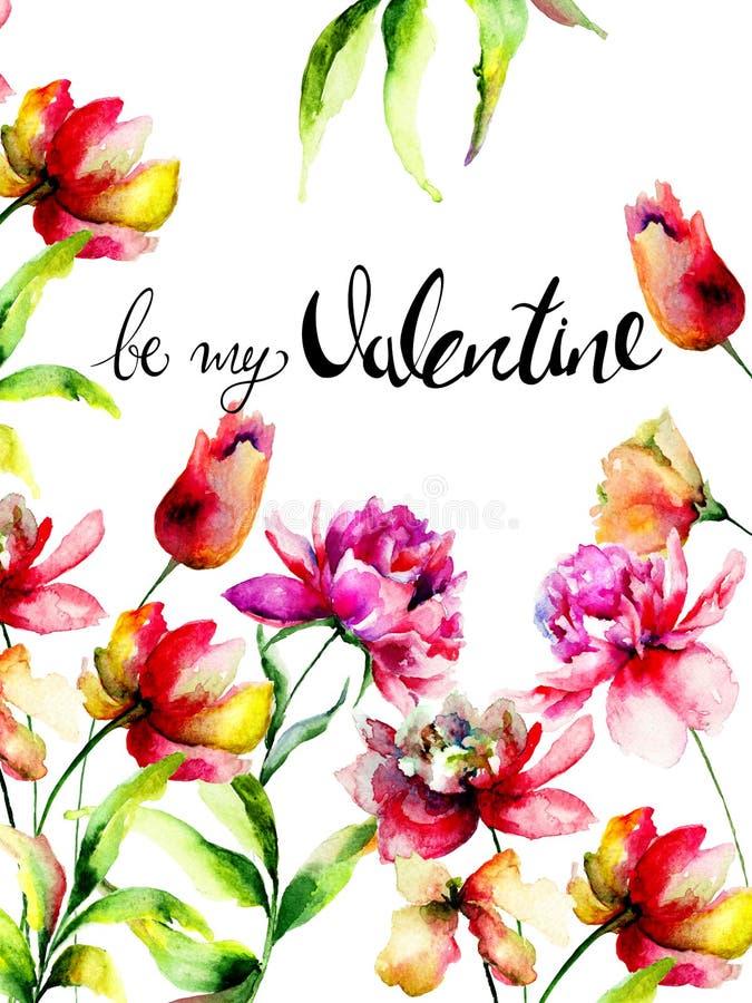 Tulp en Pioen de bloemen met titel zijn mijn Valentine royalty-vrije illustratie