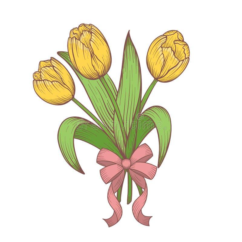 Tulpan blommar buketten med pilbågen stock illustrationer