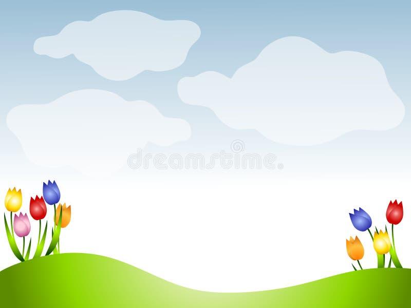 tulpan för fjäder för bakgrundsgräsäng royaltyfri illustrationer