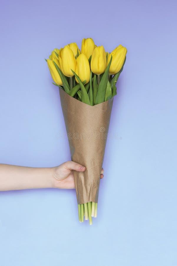 Tulpan för guling för buketten för kvinnahanden blommar den hållande på blå bakgrund Lekmanna- lägenhet, bästa sikt Tulip Flower  royaltyfria foton