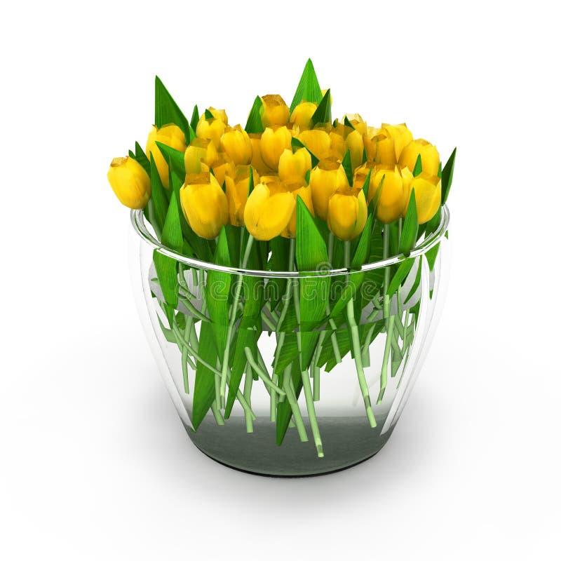 Tulpan i vasen på vit bakgrund 3d stock illustrationer