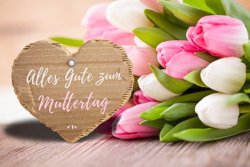 Tulpan med meddelandet som säger för moder` s för ` lycklig ` för dag, royaltyfri fotografi