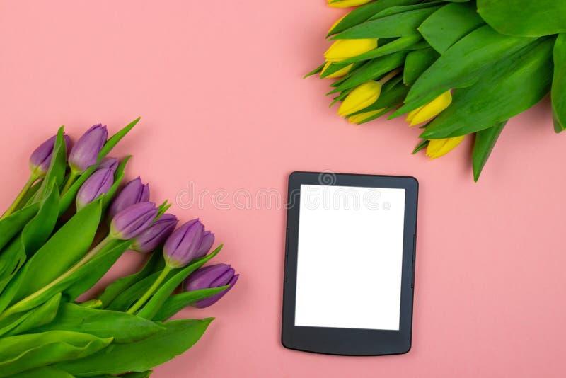 Tulpan och minnestavla med den vita modellsk?rmen p? rosa bakgrund H?lsningkort f?r p?sk- eller kvinnors dag royaltyfria bilder