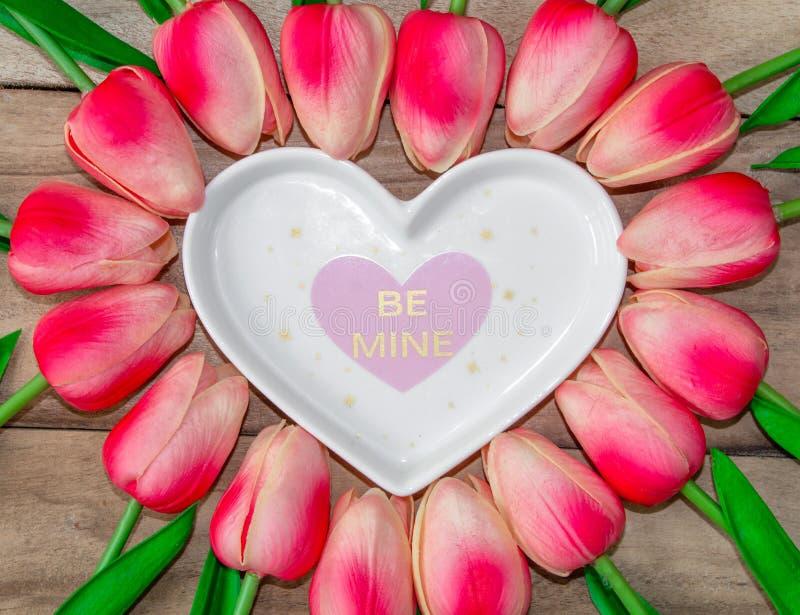 Tulpanblommor läggas ut i formen av en hjärta på en träbakgrund, bland dem finns det enformad platta och en inscrip royaltyfri foto