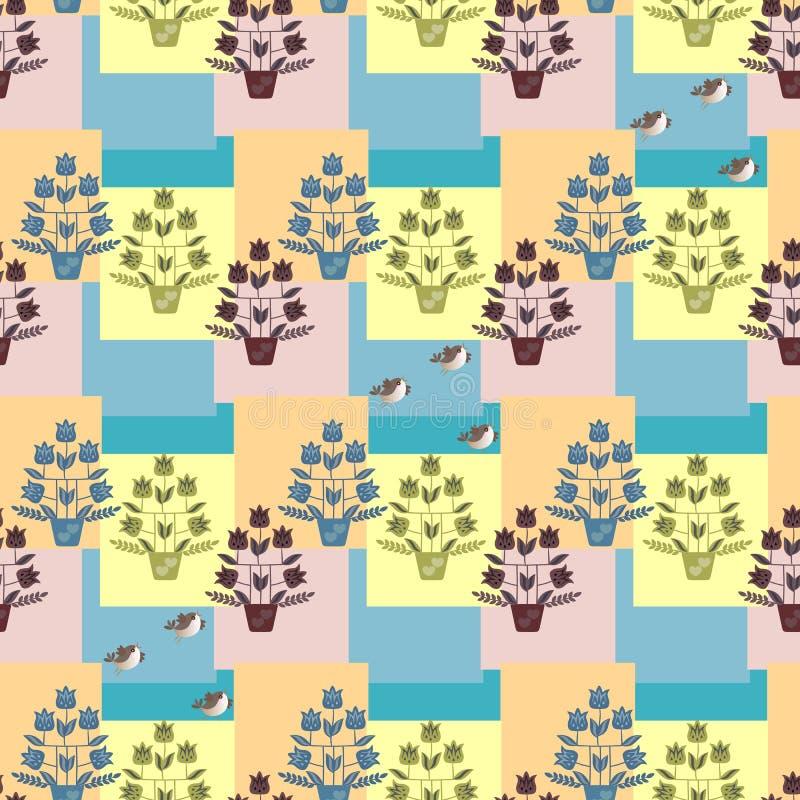 Tulpanträd i blomkrukor och roliga fåglar på flerfärgad abstrakt geometrisk bakgrund Seamless fjädra mönstrar Gardin tapet vektor illustrationer