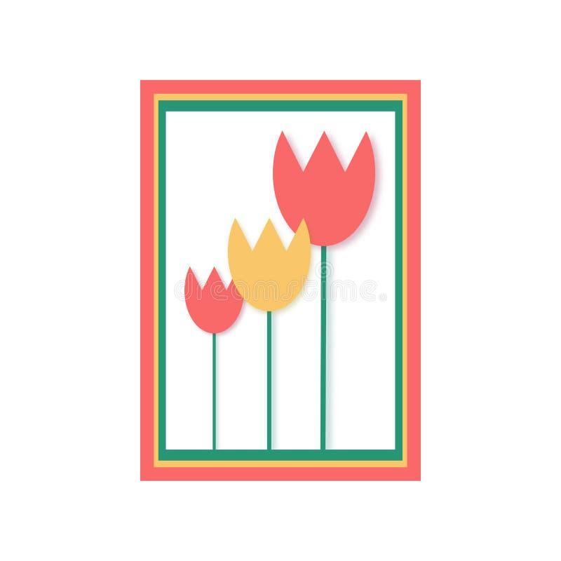 Tulpanvektorsymbol i en plan stil stock illustrationer