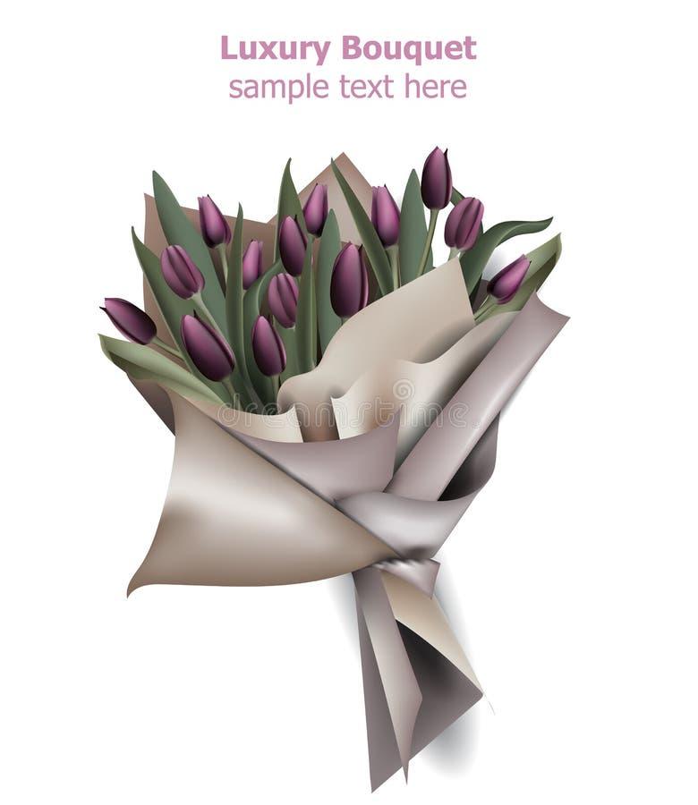 Tulpe blüht Blumenstrauß Vektor Wiese voll des gelben Löwenzahns Realistische Illustrationen 3d stock abbildung