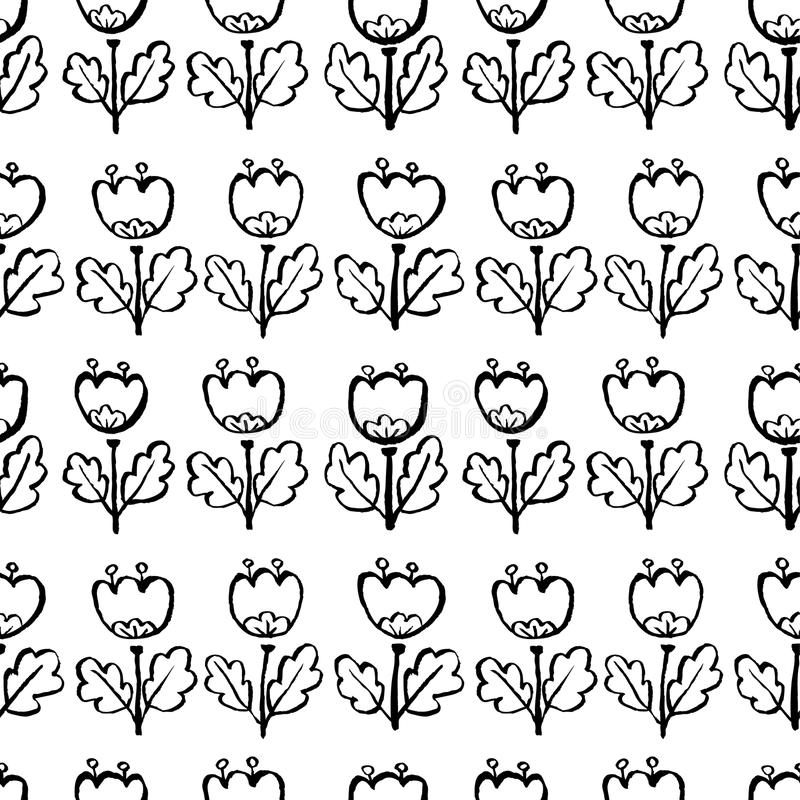 Tulpe blüht nahtloses Muster Künstlerischer Tintenmit blumenhintergrund lizenzfreie abbildung