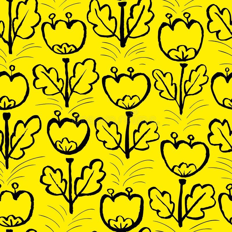 Tulpe blüht nahtloses Muster Künstlerischer Tintenmit blumenhintergrund stock abbildung