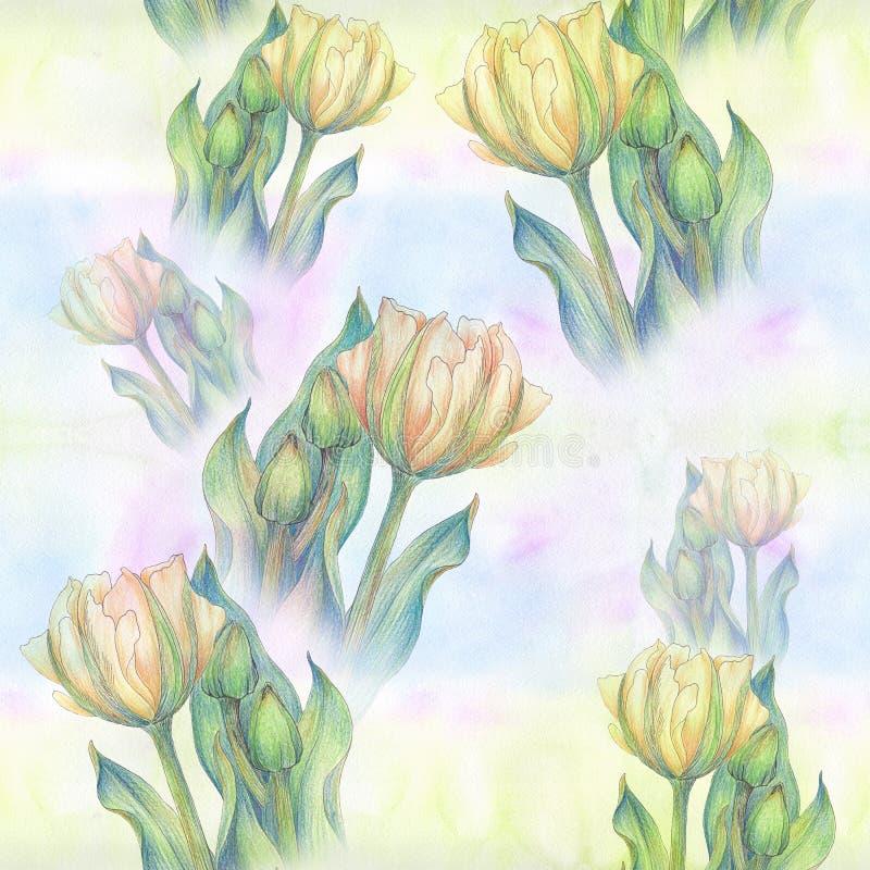 Tulpe - eine Zusammensetzung von Blumen Gerade ein geregnet Nahtloses Muster stock abbildung