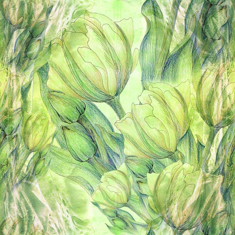Tulpe - eine Zusammensetzung von Blumen Nahtloses Muster lizenzfreie abbildung