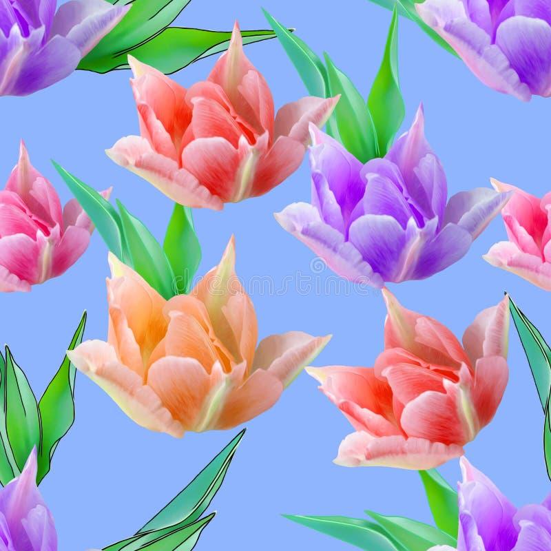 Tulpe Nahtlose Musterbeschaffenheit von Blumen Blumenhintergrund, p stock abbildung