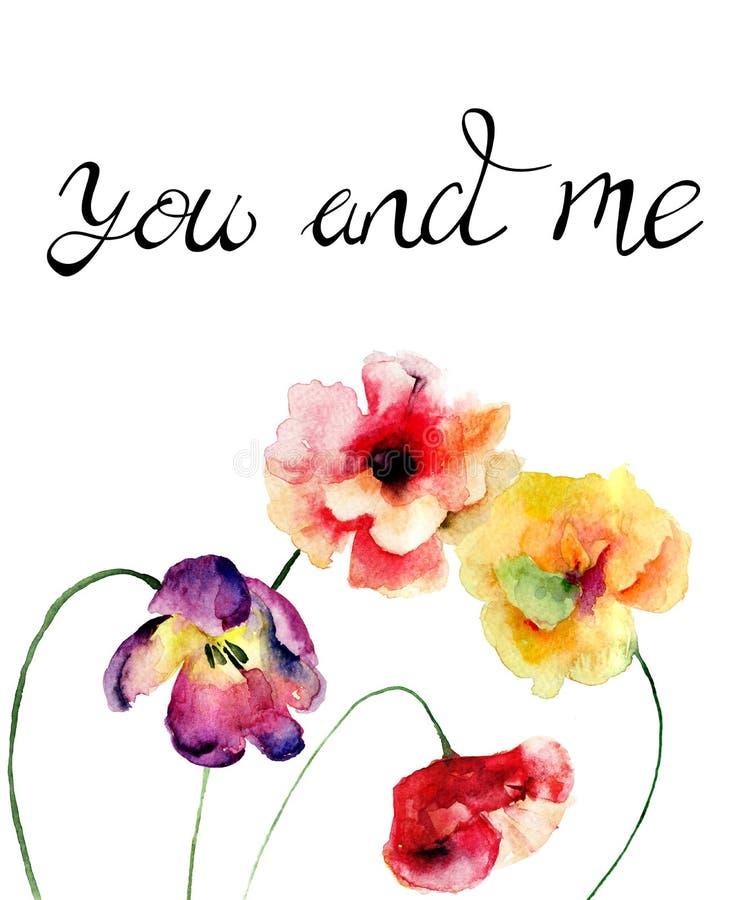 Tulpe und Mohnblumen blüht mit Titel Sie und mich lizenzfreie abbildung
