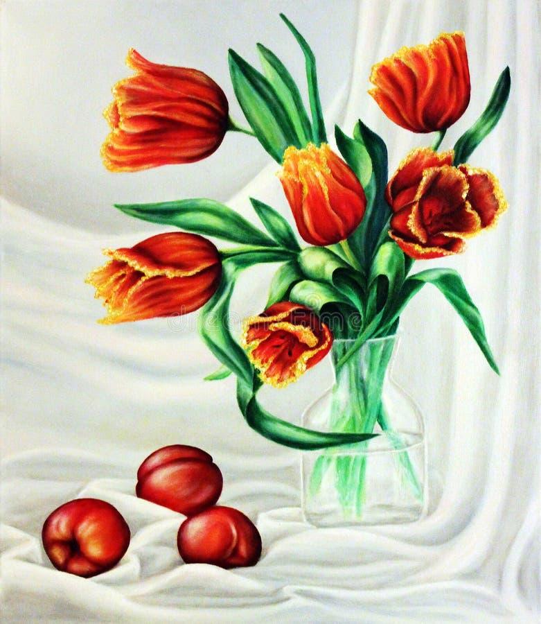 Tulpen in een glaskruik met perziken op een elegante achtergrond Het schilderen: olie op canvas stock illustratie