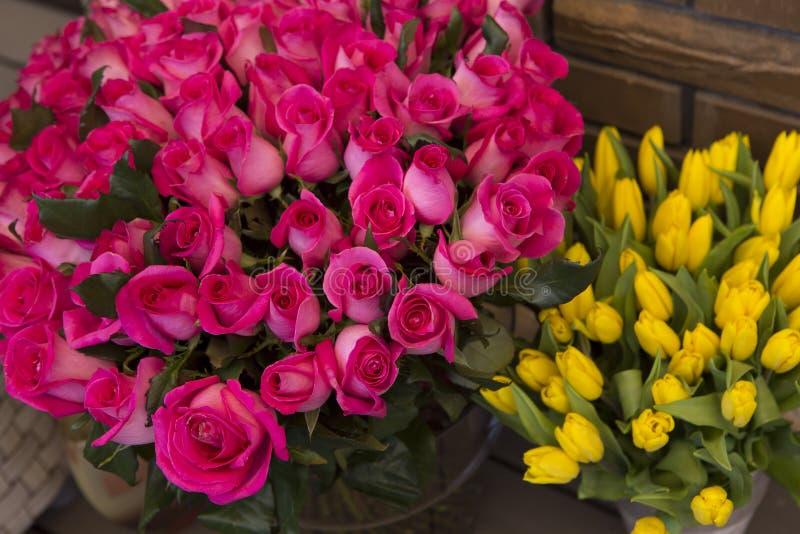 Tulpen en rozen royalty-vrije stock foto's