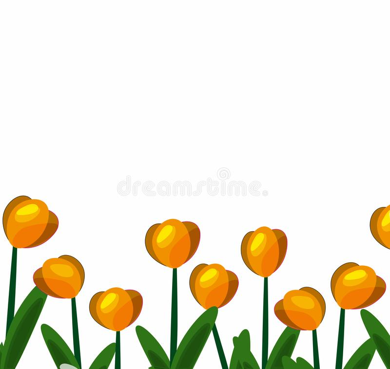 Tulpen gele achtergrond-01 vector illustratie