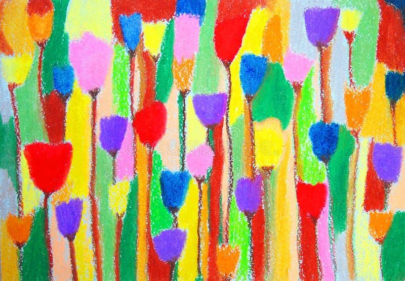 Tulpen Het abstracte Schilderen van de Kleur Het gezicht van Hand-drawn vrouwen illustration royalty-vrije illustratie