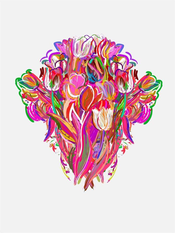 Tulpen malten Artvektor-Karten-Neonrosa vektor abbildung