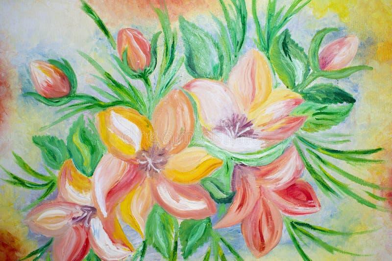Tulpen, olieverfschilderij op canvas vector illustratie