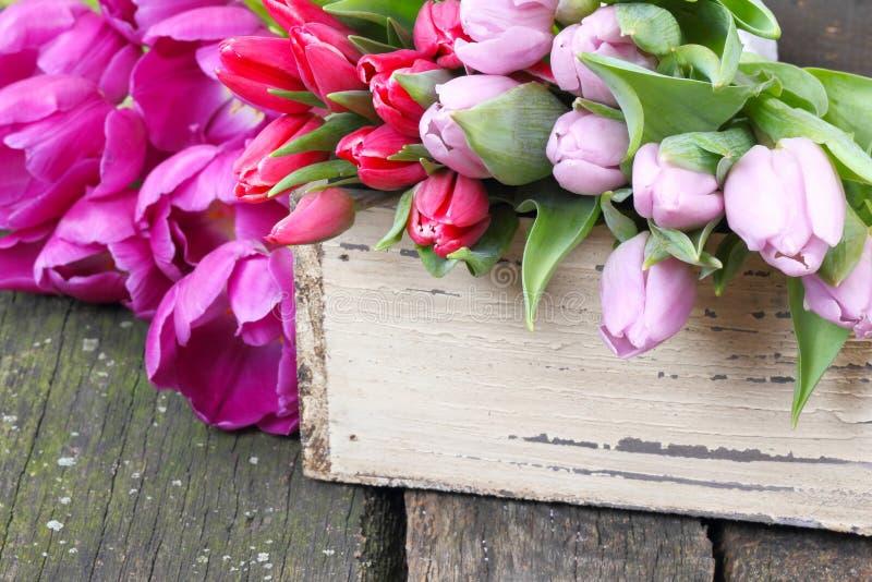 Tulpen op houten lijst royalty-vrije stock afbeeldingen