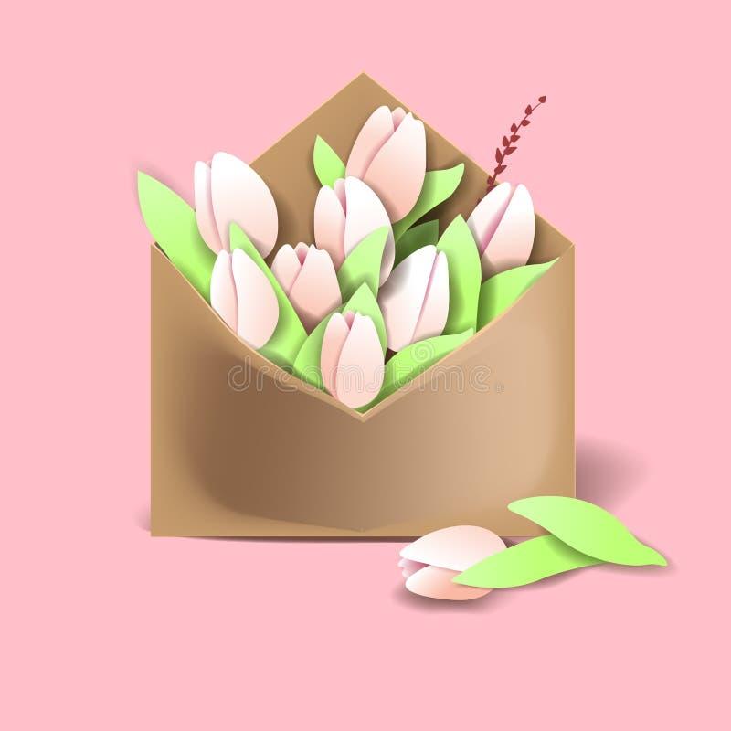 Tulpen van roze kleur in de document envelop met de lentes en  royalty-vrije illustratie