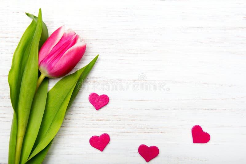 Tulpenbloem en klein hart op witte houten achtergrond royalty-vrije stock foto