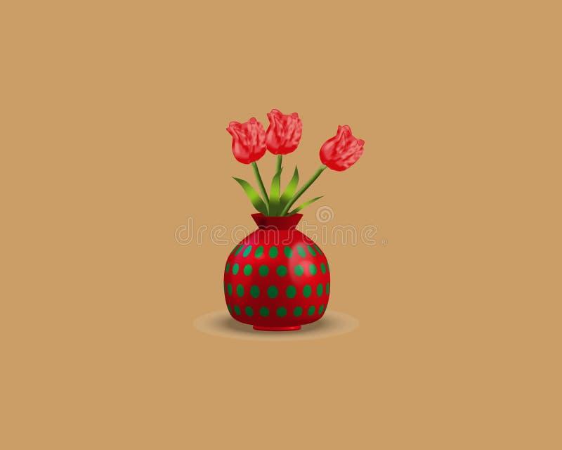 Tulpenblumen im Vasenrosa auf braunem Hintergrund Auch im corel abgehobenen Betrag vektor abbildung