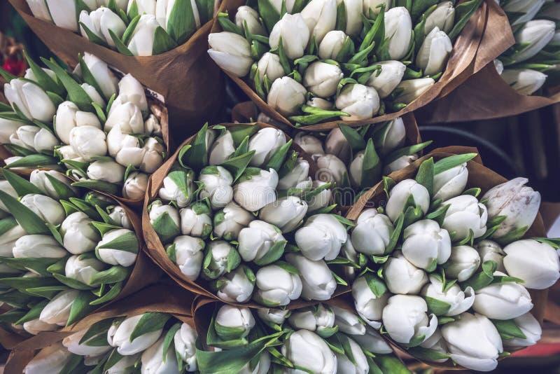 Tulpenbouquets in Papiertüten lizenzfreie stockbilder