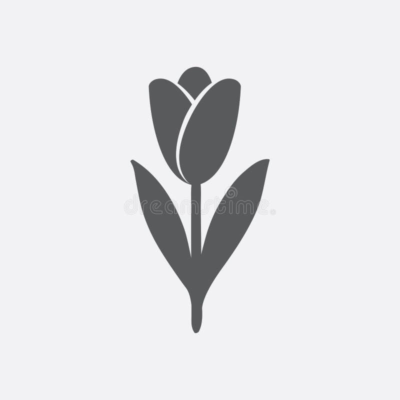 Tulpenpictogram in schaduwen van grijs royalty-vrije illustratie