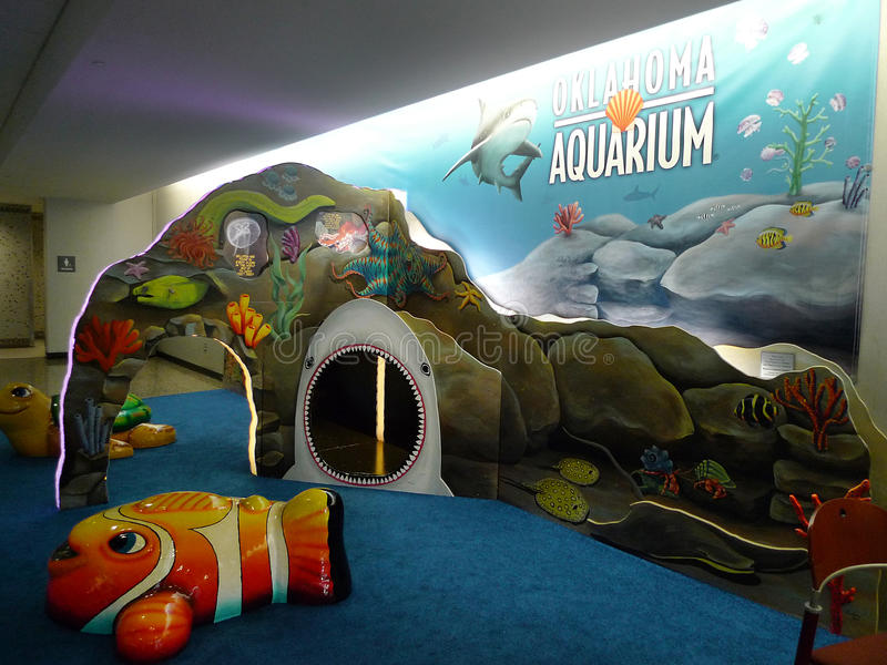 Tulsa International Airport Aquarium play area for children. Tulsa, Oklahoma airport, located at 7777 East Apache, Tulsa, Oklahoma. Flights within the United stock photography