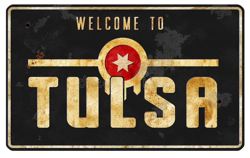 Tulsa Oklahoma Street Sign Logo Art Vintage. OK welcome to city limits highway freeway roadside road retro rustic royalty free stock image