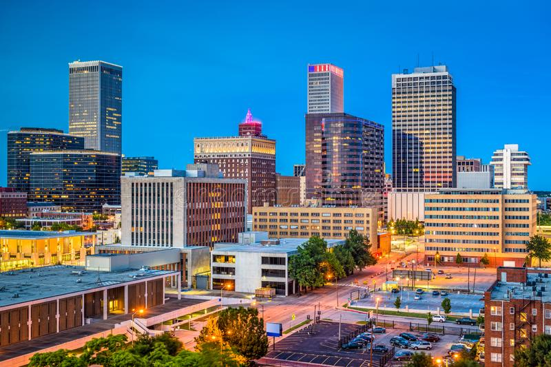Tulsa, Oklahoma, USA. Downtown city skyline at twilight royalty free stock photography