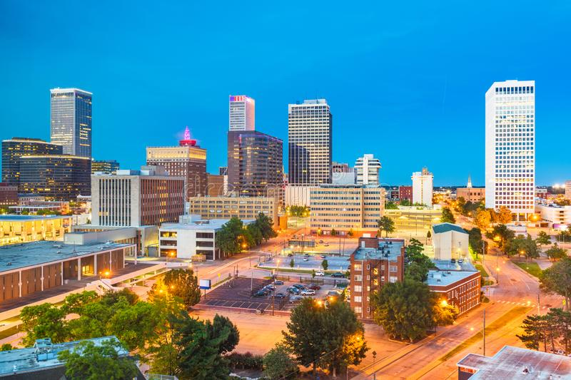 Tulsa, Oklahoma, USA. Downtown city skyline at twilight royalty free stock photo