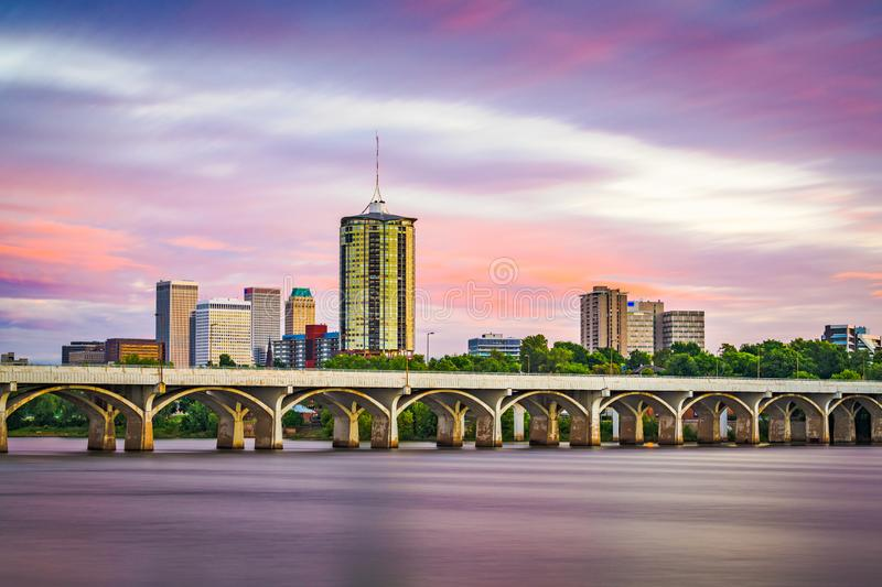 Tulsa, Oklahoma, USA. Downtown skyline on the Arkansas River at dusk stock image