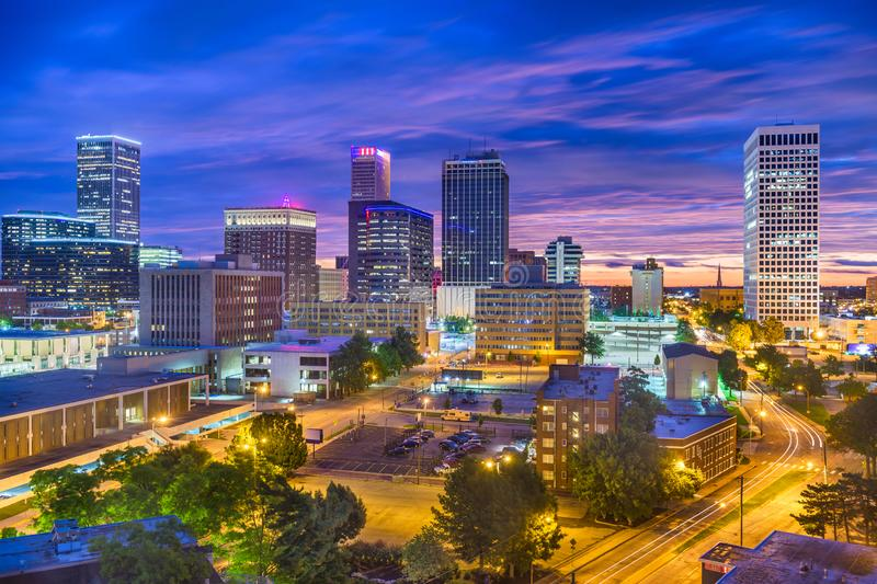 Tulsa, Oklahoma, USA Skyline. At twilight royalty free stock photos