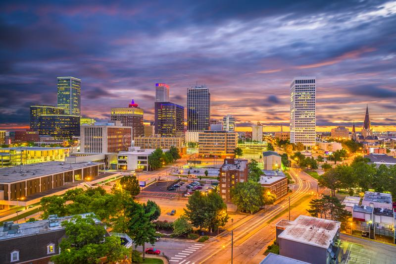 Tulsa, Oklahoma, USA Skyline. At twilight royalty free stock photography