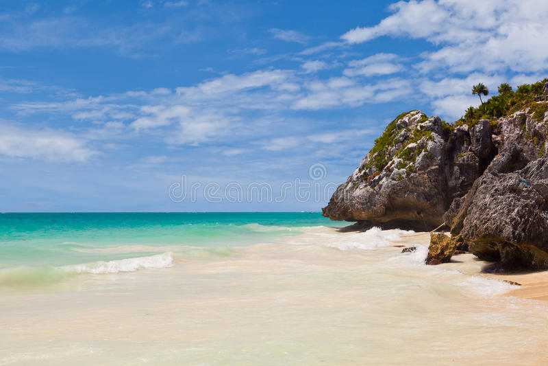 Tulum海滩,玛雅里维埃拉 库存照片