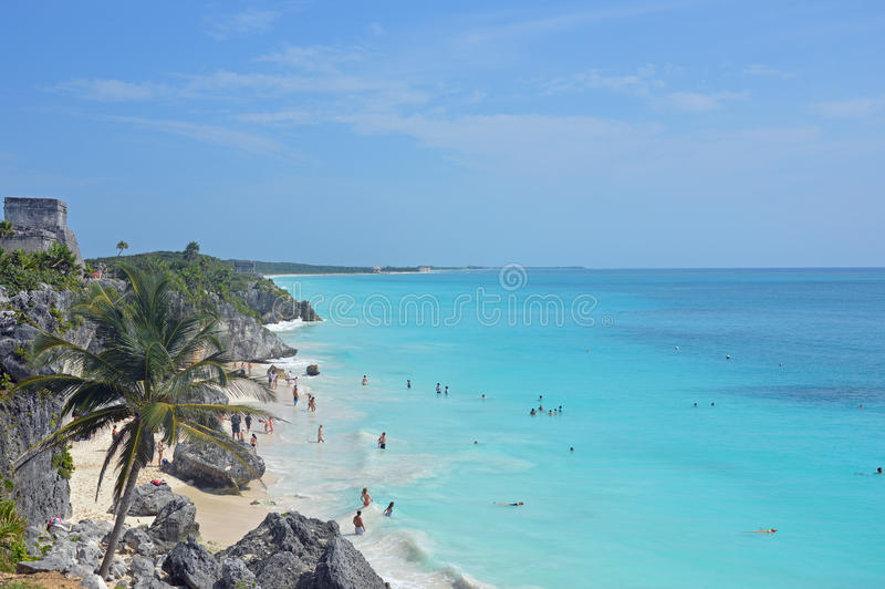 Tulum海滩和废墟 免版税库存图片